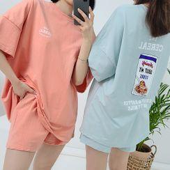 HOTPING - Printed Comfy T-Shirt & Shorts Set