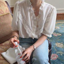 Muezz - 短袖通花蕾絲襯衫