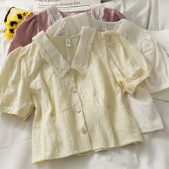 Lemongrass(レモングラス) - Puff-Sleeve Slim-Fit Crop Shirt in 5 Colors