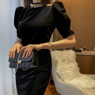 DABAGIRL - Chain-Necklace Velvet Sheath Dress