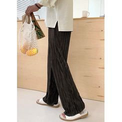 JOGUNSHOP - Bnad-Waist Pleated Wide-Leg Pants