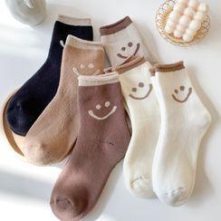 Mimiyu - Set Of 3 Pairs: Smiley Face Socks