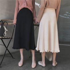 AYY STUDIO - Distressed A-Line Midi Knit Skirt