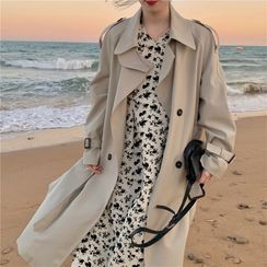 Bambu - Double-Breasted Trench Coat / Long-Sleeve Floral Print Midi A-Line Dress