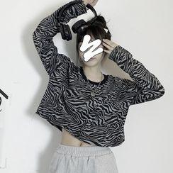 Giuliana(ギーリアナ) - Zebra-Print Long-Sleeve Long T-Shirt / Long-Sleeve Cropped T-Shirt