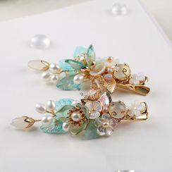 Kanzashi - 复古仿珍珠树枝发夹