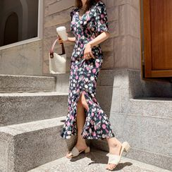 DEEPNY - Deep-Slit Frilled Floral Maxi Dress