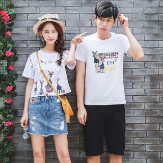 NoonSun - Couple Matching Deer Print Short-Sleeve T-Shirt