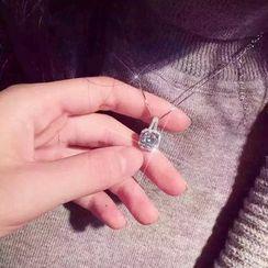 Jiniro - 925 Sterling Silver Rhinestone Cube Pendant Necklace