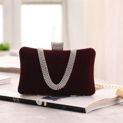 Moonflower - Rhinestone Handle Velvet Handbag