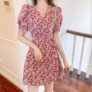 Foreka - Puff-Sleeve Floral Print A-Line Dress