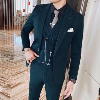 Blueforce - Set: Plain Blazer + Double Breasted Vest + Dress Pants