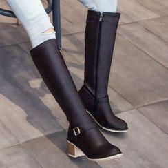 Aegina - Chunky-Heel Strapped Tall Boots