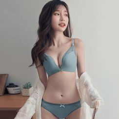 Wild Honey - Lace Trim Wireless Bra / Panties / Set