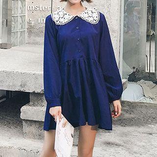 Fashion Street - Long-Sleeve Lace Collar Mini Dress