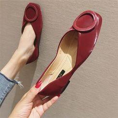 The Shoe House - 仿皮方形鞋头平跟鞋
