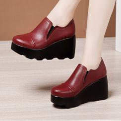 Obelie - Plain Platform Wedge Heel Shoes