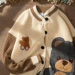 Shazoom - Bear Embroidered Cardigan