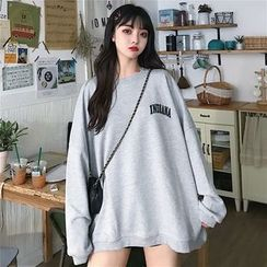Iduna - Lettering Round Neck Oversize Pullover