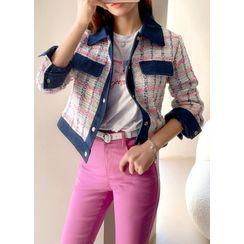 Styleonme(スタイルオンミー) - Denim-Panel Tweed Trucker Jacket