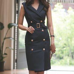 Yilda - Sleeveless Notch Lapel Double-Breasted Sheath Dress