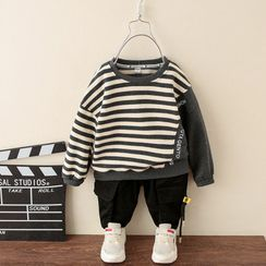 Ouron - Set: Kids Striped Pullover + Cargo Jogger Pants