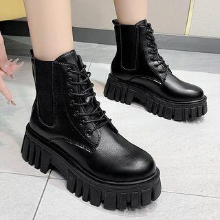 Weiya - 繫帶厚底短靴