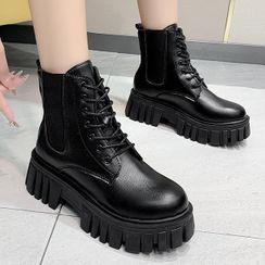 Weiya - Lace-Up Platform Short Boots