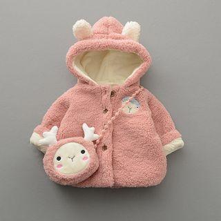 Mini Bae - Kids Sheep Embroidered Hooded Buttoned Jacket + Cartoon Drawstring Crosbsody Bag