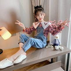 Qin Qin - Kids Set: Plaid Blouse + Washed Denim Dungaree