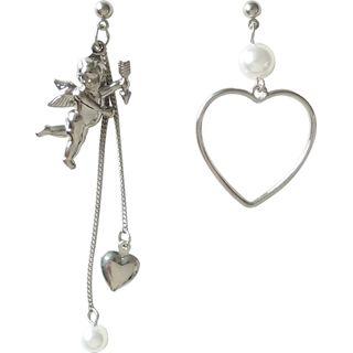 Isle of Green - Boucles d'oreilles asymétriques cœur et Cupidon (différents motifs)