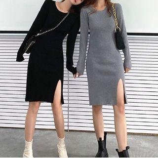 YGONE - Slit Knit Sheath Dress