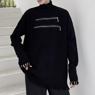 VEAZ - Turtleneck Zip-Front Loose-Fit Knit Top
