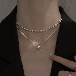 SWART - 饰珠纯银贴脖项链 / 饰珠吊坠纯银项链