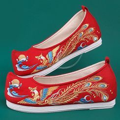 July Lotus - Chinese Traditional Embroidered Platform Shoes