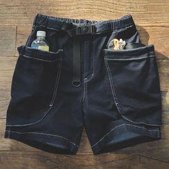 Maden - Belted Pocket-Detail Denim Shorts