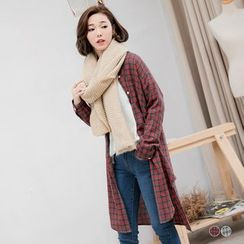 OrangeBear - Drop Arm Plaid Collarless Long Shirt
