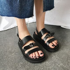 Nikao - Buckled Faux Leather Slide Sandals