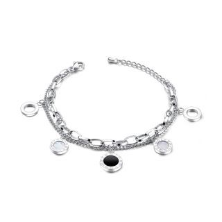 BELEC - Fashion Classic Roman Numeral Geometric Round 316L Stainless Steel Bracelet
