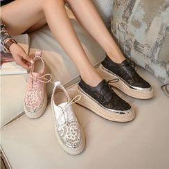 JY Shoes - Lace Platform Slip-Ons