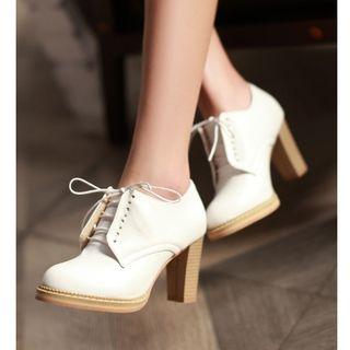 Freesia - 系带粗跟及踝靴