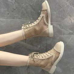 Yuki Yoru - Block Heel Mesh Lace Up Short Boots