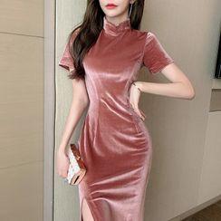 Yvoire - Short-Sleeve Slit Maxi Velvet Qipao