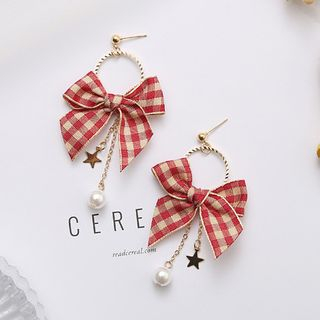 Kokyu - Plaid Bow Faux Pearl Drop Earring