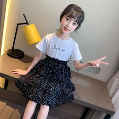 Qin Qin - Kids Short-Sleeve Dotted Midi A-Line Tiered Dress