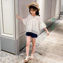 PAM - Kids Set: Flared-Cuff Patterned Blouse + Denim Shorts