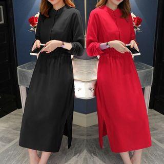 Empressa - Maternity Long-Sleeve Slit Midi Shift Dress