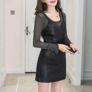 Neon Nite - 套裝: 長袖薄紗上衣 + 仿皮細肩帶迷你連衣裙