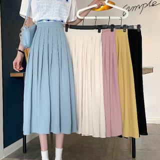Sisyphi - Pleated Midi A-Line Skirt