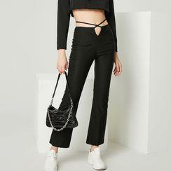 Pandaramma - High-Waist Lace-Up Boot-Cut Pants